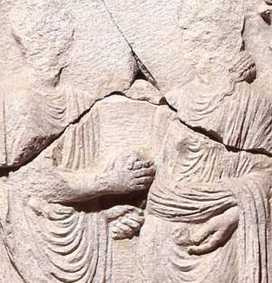 Stele funeraria dei Pettii con scena di matrimonio (particolare)