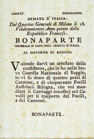 Bonaparte Generale in capo dell'Armata d'Italia. Al Governo di Reggio – 9 ottobre 1796