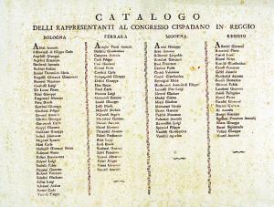 Catalogo delli rappresentanti al congresso Cispadano di Reggio