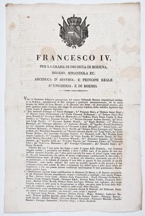 Sentenza del Tribunale Statario  Straordinario residente in Rubiera per giudicate i rei di Lesa Maestà e di associazione alle sette proscritte -1822