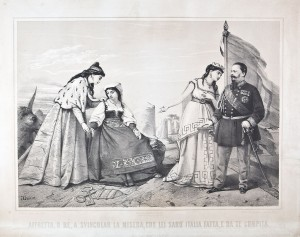 Affretta, o Re, a svincolar la miseria, con lei sarò Italia fatta, e da te compita, litografia – 1867