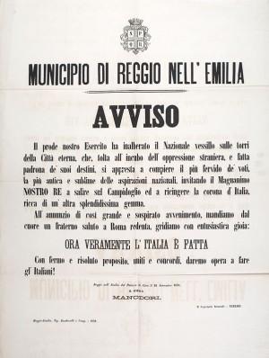 Municipio di Reggio nell'Emilia. Avviso – 1870