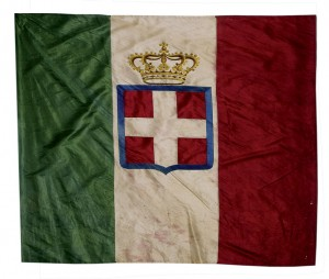 Bandiera sabauda con corona- sec.XIX