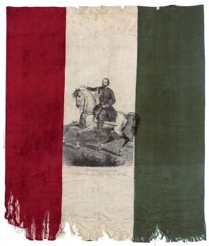 """Fazzoletto tricolore con l'effigie di Garibaldi """"Generale comandante il Corpo Cacciatori delle Alpi"""" – 1859"""