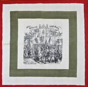 """Fazzoletto tricolore """"Milano Liberata"""" – 1859"""