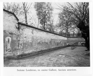 Padiglione Lombroso – Muro perimetrale esterno, abbattuto negli anni '70