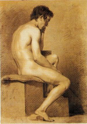 Alfonso Chierici – Nudo seduto su base di profilo