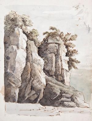 Ambito emiliano ( XVIII secolo) – Veduta di sperone roccioso con vegetazione