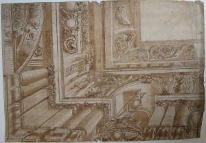 Anonimo (XVIII secolo) – Angolo e parte della base con colonne di un ricco soffitto