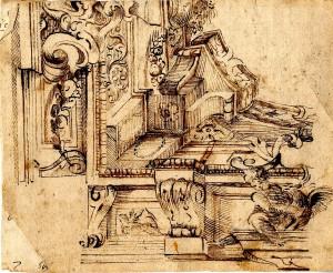 Anonimo (XVIII secolo) – Decorazione di angolo di soffitto