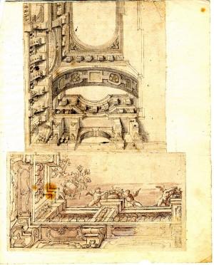 Anonimo (XVIII secolo) – Due disegni. Motivi per parti e angoli di soffitto