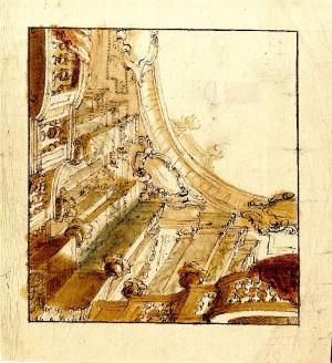 Anonimo (XVIII secolo) – Prospettiva di soffitto balconato