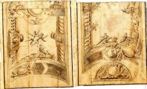 Anonimo (XVIII secolo) – Quattro motivi di angoli di soffitti