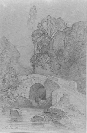 Antonio Fontanesi – Rustico di ponte fra gruppo di alberi