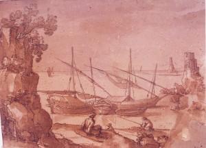 Baccio del Bianco – Veduta marina con rovine, pescherecci e barche all'ancora