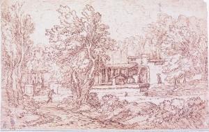 Carlo Antonio Tavella – Paesaggio con fonte e due figure