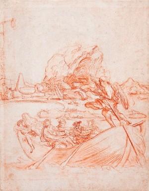 Carlo Marata – Il Tempo alla guida di una barca traghetta le Quattro Stagioni e una figura addormentata verso la Morte