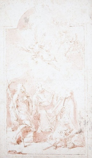 Carlo Ricci – Angelo che appare a san Giovanni Battista, san Bonaventura e san Ludovico da Tolosa