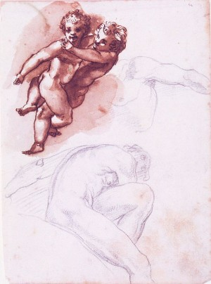 Cherubino Alberti – Coppia di putti abbracciati, studio di busto virile, nudo virile adagiato
