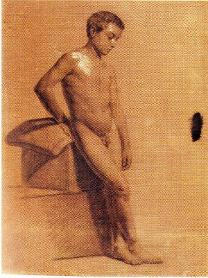 Domenico Pellizzi – Nudo di bambino appoggiato ad una base e cuscino