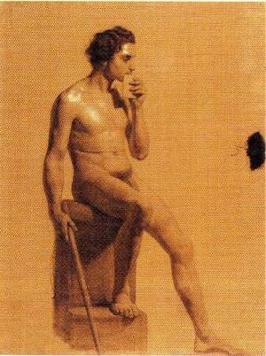 Domenico Pellizzi – Nudo di giovane seduto con bastone in mano