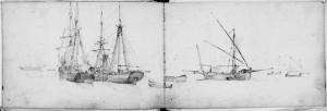 Domenico Pellizzi – Veduta di porto con navi