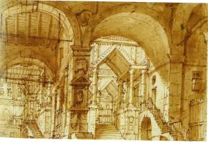 Francesco Fontanesi – Cortile interno delle carceri del castello nel quale è ritenuto prigioniero Arbace
