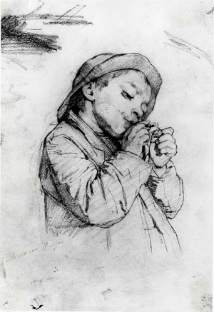 Gaetano Chierici – Monello che accende un sigaro