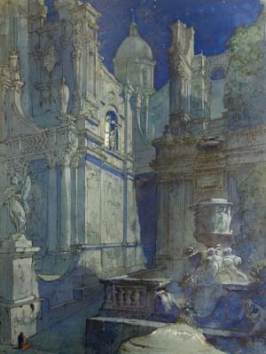 Giulio Ferrari – Studio scenografico di scorcio di chiesa con cupola