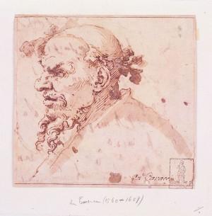 Jusepe Ribera, dello Lo Spagnoletto – Testa di vecchio barbuto incoronata da tralcio di vite