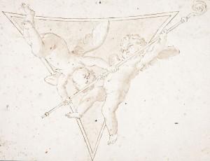 Marcantonio Franceschini – Due angioletti in volo con pastorale in un pennacchio