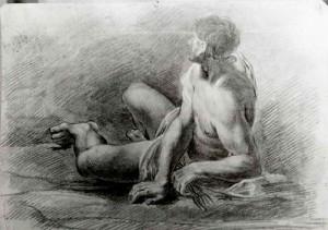 Prospero Minghetti – Studio di nudo con panneggio