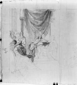 Prospero Minghetti – Studio di re in trono con consiglieri