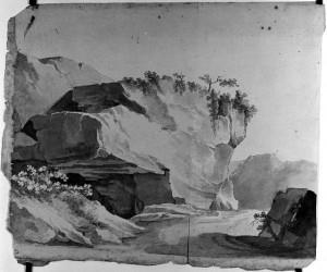 Prospero Minghetti – Studio di rocce e vegetazione