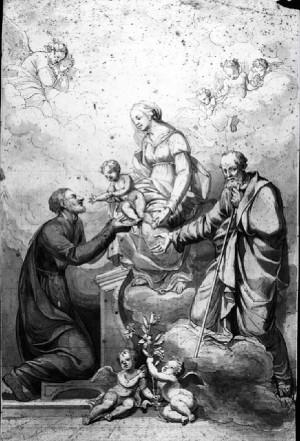 Prospero Minghetti – Studio  per la Madonna col Bambino, San Gaetano, San Giuseppe e angeli