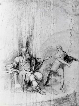 Prospero Minghetti – Vecchio saggio e giovinetto nel bosco