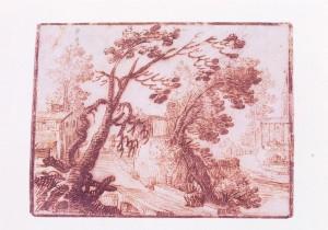 Remigio Cantagallina – Paesaggio con ponticello, borgo e chiesa