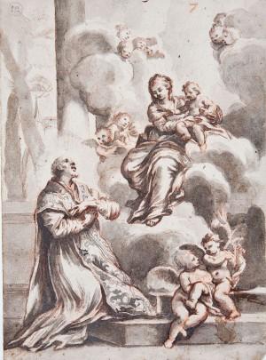 Seguace di Ciro Ferri – La Vergine col bambino appare a san Filippo Neri