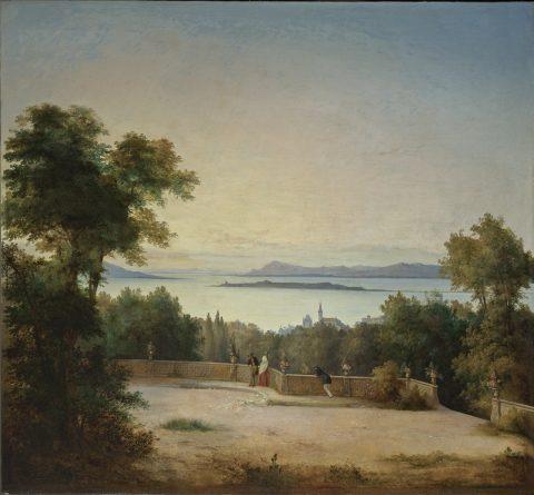 Antonio Fontanesi, Terrazzo e giardino sul lago, 1850 circa, olio su tela, Reggio Emilia, Fondazione Cassa di Risparmio Pietro Manodori