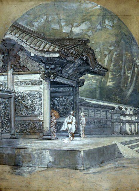 Antonio Fontanesi, Ingresso di un tempio in Giappone, 1878-1879, preparazione a chiaroscuro su tela,  114 x 145 cm. Reggio Emilia, Musei Civici Foto di Marco Ravenna