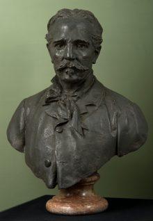 Leonardo Bistolfi, Ritratto di Antonio Fontanesi, 1883, bronzo, 80 x 59 x 35 cm.  Torino, Pinacoteca dell'Accademia Albertina di Belle Arti
