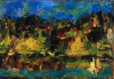 Ennio Morlotti, Paesaggio sul fiume (Adda), 1955, olio su tela, Parma, Collezione Barilla di Arte Moderna