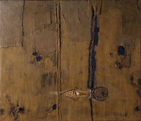 Alberto Burri, Abstraction with Brown Burlap (Sacco), 1953, olio, vernici, applicazioni in seta su iuta, Torino, Fondazione Torino Musei, GAM - Galleria Civica d'Arte Moderna e Contemporanea
