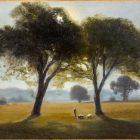 Antonio Fontanesi, Il mattino, 1855-1858, olio su carta applicata su cartoncino, 20,1 x 31,1 cm Torino, GAM-Galleria Civica d'Arte Moderna e Contemporanea